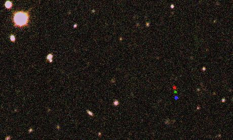 The newly discovery dwarf planet shows up as red-green-blue coloured dots. Three images, each taken about two hours apart, were combined into one. The orbit of this world may be hinting that a planet far larger than Earth also lurks in the outer solar system Photograph: Scott S Sheppard/Carnegie Institution for Science