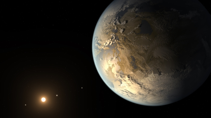 The artist's concept depicts Kepler-186f , the first validated Earth-size planet to orbit a distant star in the habitable zone. [Click link below for more.] Image Credit: NASA Ames/SETI Institute/JPL-Caltech