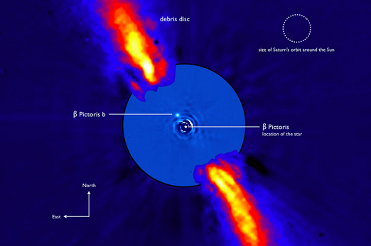 This composite image represents the close environment of Beta Pictoris as seen in near infrared light. This very faint environment is revealed after a very careful subtraction of the much brighter stellar halo. The outer part of the image shows the reflected light on the dust disc, as observed in 1996 with the ADONIS instrument on ESO's 3.6 m telescope; the inner part is the innermost part of the system, as seen at 3.6 microns with NACO on the Very Large Telescope. The newly detected source is more than 1000 times fainter than Beta Pictoris, aligned with the disc, at a projected distance of 8 times the Earth-Sun distance. Both parts of the image were obtained on ESO telescopes equipped with adaptive optics.